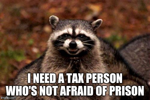 Evil tax man  | I NEED A TAX PERSON WHO'S NOT AFRAID OF PRISON | image tagged in memes,evil plotting raccoon,funny,funny memes | made w/ Imgflip meme maker