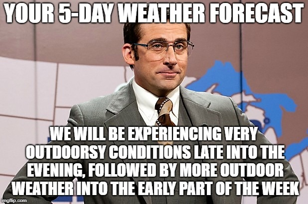Weather...Man | YOUR 5-DAY WEATHER FORECAST WE WILL BE EXPERIENCING VERY OUTDOORSY CONDITIONS LATE INTO THE EVENING, FOLLOWED BY MORE OUTDOOR WEATHER INTO T | image tagged in brick tamland,memes,winter is here,weatherman,anchorman | made w/ Imgflip meme maker