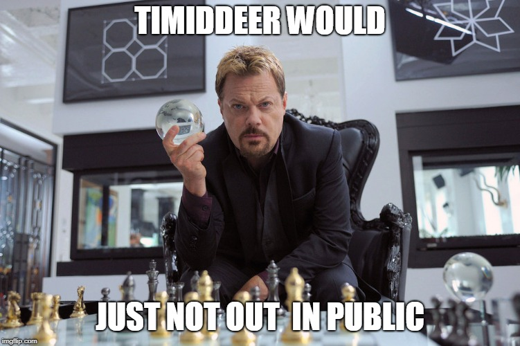 TIMIDDEER WOULD JUST NOT OUT  IN PUBLIC | made w/ Imgflip meme maker