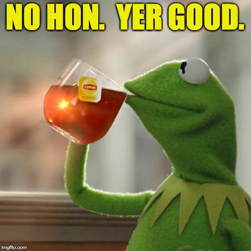But Thats None Of My Business Meme | NO HON.  YER GOOD. | image tagged in memes,but thats none of my business,kermit the frog | made w/ Imgflip meme maker