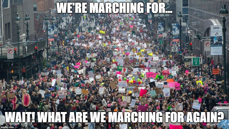 Women's march  |  WE'RE MARCHING FOR... WAIT! WHAT ARE WE MARCHING FOR AGAIN? | image tagged in women's march | made w/ Imgflip meme maker