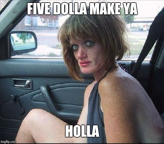 crack whore hooker | FIVE DOLLA MAKE YA HOLLA | image tagged in crack whore hooker | made w/ Imgflip meme maker