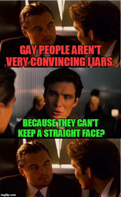 bad pun Sunday!  | GAY PEOPLE AREN'T VERY CONVINCING LIARS. BECAUSE THEY CAN'T KEEP A STRAIGHT FACE? | image tagged in memes,inception,nixieknox | made w/ Imgflip meme maker