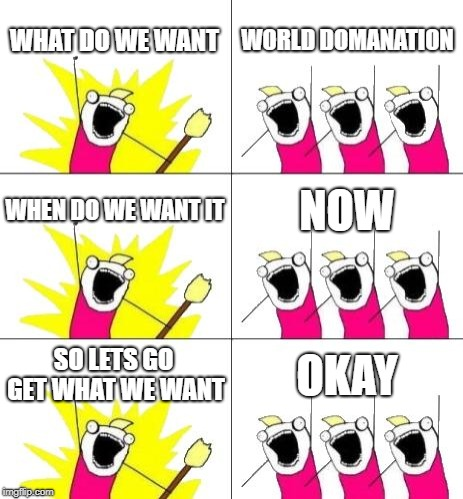 What Do We Want 3 | WHAT DO WE WANT WORLD DOMANATION WHEN DO WE WANT IT NOW SO LETS GO GET WHAT WE WANT OKAY | image tagged in memes,what do we want 3 | made w/ Imgflip meme maker