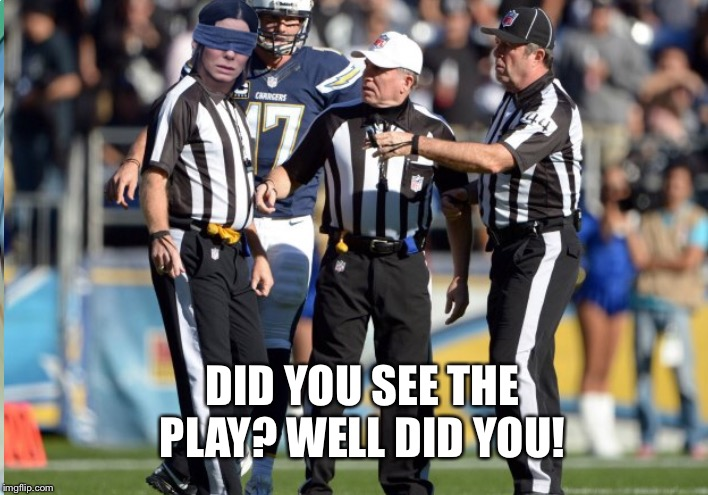 Officials Today | DID YOU SEE THE PLAY? WELL DID YOU! | image tagged in blind,nfl football,officials,blind fold | made w/ Imgflip meme maker