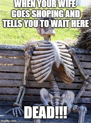 Waiting Skeleton Meme | WHEN YOUR WIFE GOES SHOPING AND TELLS YOU TO WAIT HERE DEAD!!! | image tagged in memes,waiting skeleton | made w/ Imgflip meme maker
