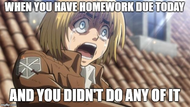 attack on titan | WHEN YOU HAVE HOMEWORK DUE TODAY AND YOU DIDN'T DO ANY OF IT | image tagged in attack on titan | made w/ Imgflip meme maker
