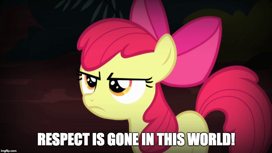 Nobody respects each other anymore! |  RESPECT IS GONE IN THIS WORLD! | image tagged in angry applebloom,memes,it's time to stop,respect,no respect | made w/ Imgflip meme maker