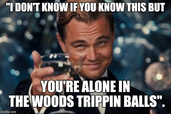 "Best Line Ever! | ""I DON'T KNOW IF YOU KNOW THIS BUT YOU'RE ALONE IN THE WOODS TRIPPIN BALLS"". 