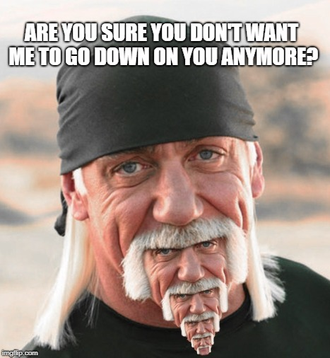 hulk chin | ARE YOU SURE YOU DON'T WANT ME TO GO DOWN ON YOU ANYMORE? | image tagged in hulk chin | made w/ Imgflip meme maker