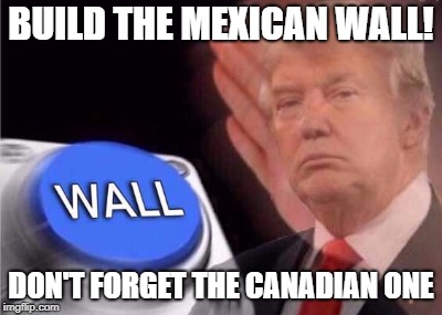 Keeps the Americans in America! |  BUILD THE MEXICAN WALL! DON'T FORGET THE CANADIAN ONE | image tagged in trump wall button,maga,canadians | made w/ Imgflip meme maker