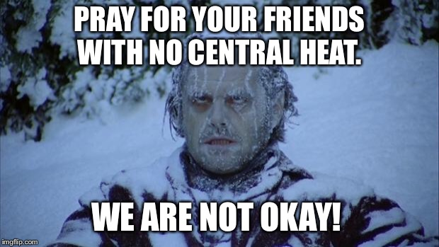 Cold | PRAY FOR YOUR FRIENDS WITH NO CENTRAL HEAT. WE ARE NOT OKAY! | image tagged in cold | made w/ Imgflip meme maker