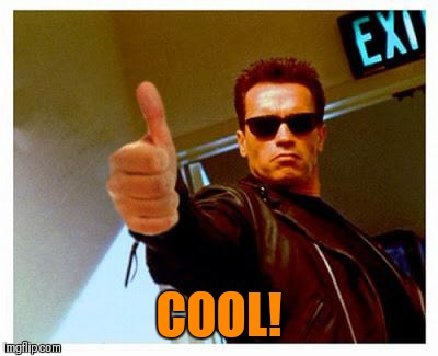 terminator thumbs up | COOL! | image tagged in terminator thumbs up | made w/ Imgflip meme maker