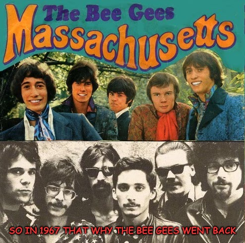 Fifty year ago a new band was born in Massachusetts, The J. Geils Band | SO IN 1967 THAT WHY THE BEE GEES WENT BACK | image tagged in the j geils band | made w/ Imgflip meme maker