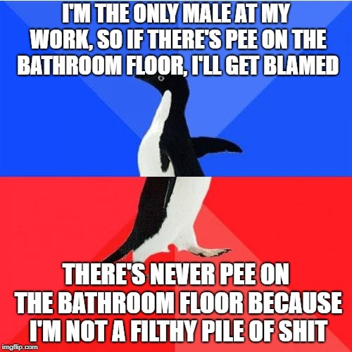 Socially Awkward Awesome Penguin |  I'M THE ONLY MALE AT MY WORK, SO IF THERE'S PEE ON THE BATHROOM FLOOR, I'LL GET BLAMED; THERE'S NEVER PEE ON THE BATHROOM FLOOR BECAUSE I'M NOT A FILTHY PILE OF SHIT | image tagged in memes,socially awkward awesome penguin,AdviceAnimals | made w/ Imgflip meme maker