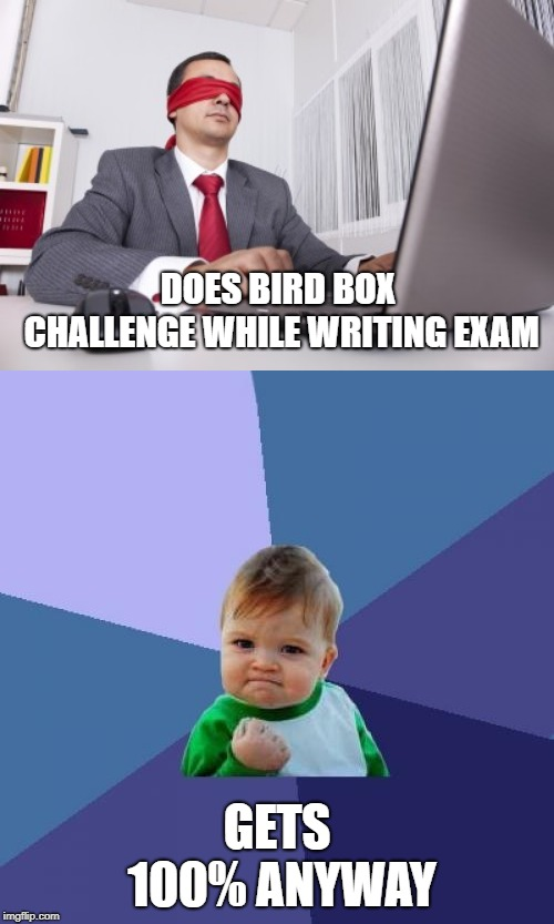 When You're Just That Good | DOES BIRD BOX CHALLENGE WHILE WRITING EXAM GETS 100% ANYWAY | image tagged in memes,success kid,blindfolded,bird box,exams,school | made w/ Imgflip meme maker
