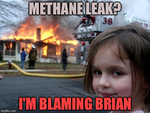Disaster Girl Meme | METHANE LEAK? I'M BLAMING BRIAN | image tagged in memes,disaster girl | made w/ Imgflip meme maker