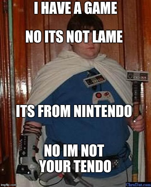 nintendo nerd | I HAVE A GAME NO ITS NOT LAME ITS FROM NINTENDO NO IM NOT YOUR TENDO | image tagged in nintendo nerd | made w/ Imgflip meme maker