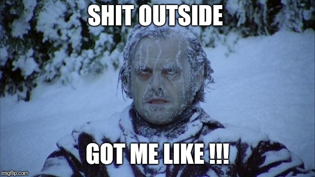 Cold | SHIT OUTSIDE GOT ME LIKE !!! | image tagged in cold | made w/ Imgflip meme maker