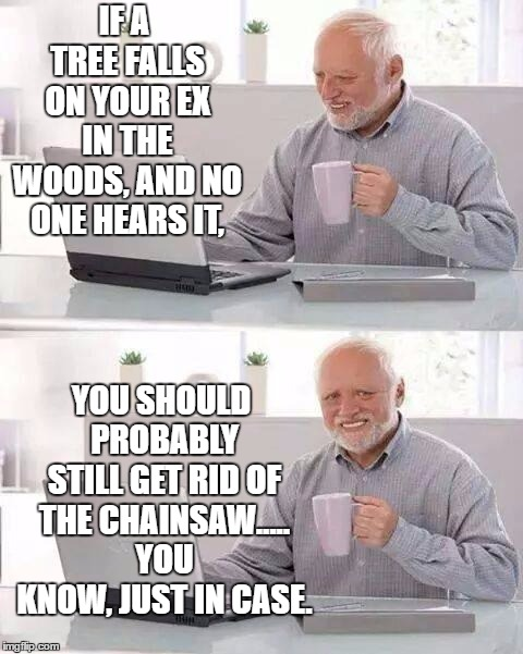 Hide the Pain Harold |  IF A TREE FALLS ON YOUR EX IN THE WOODS, AND NO ONE HEARS IT, YOU SHOULD PROBABLY STILL GET RID OF THE CHAINSAW..... YOU KNOW, JUST IN CASE. | image tagged in memes,hide the pain harold,random,chainsaw,woods | made w/ Imgflip meme maker