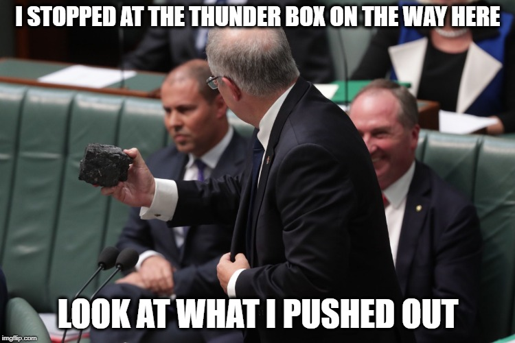 I STOPPED AT THE THUNDER BOX ON THE WAY HERE LOOK AT WHAT I PUSHED OUT | image tagged in coalmorrison | made w/ Imgflip meme maker