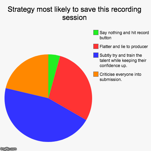 Strategy most likely to save this recording session | Criticise everyone into submission., Subtly try and train the talent while keeping the | image tagged in funny,pie charts | made w/ Imgflip chart maker