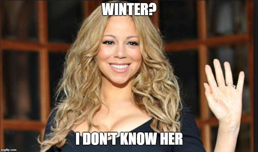 WINTER? I DON'T KNOW HER | WINTER? I DON'T KNOW HER | image tagged in mariah carey,winter | made w/ Imgflip meme maker