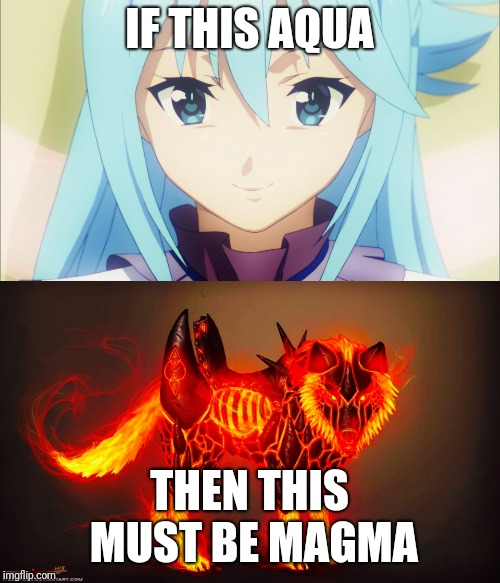 Only those who have played the Hoenn Pokémon ganes, and watch anime. You'll understand the joke.  | IF THIS AQUA THEN THIS MUST BE MAGMA | image tagged in magma dog,aqua smirk,pokemon,hoenn,team aqua,team magma | made w/ Imgflip meme maker