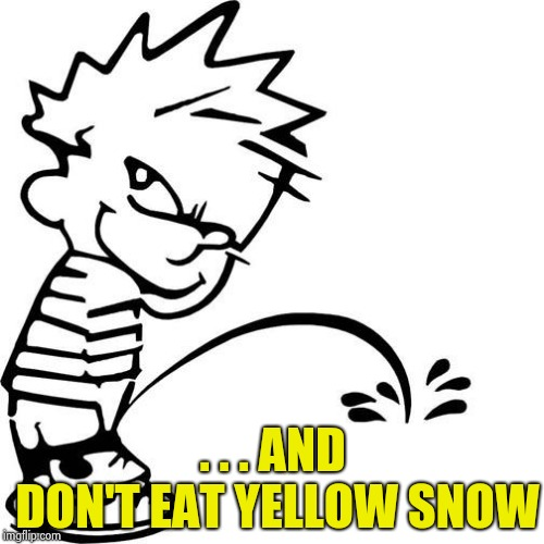 Calvin Peeing | . . . AND DON'T EAT YELLOW SNOW | image tagged in calvin peeing | made w/ Imgflip meme maker