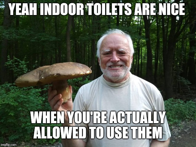 YEAH INDOOR TOILETS ARE NICE WHEN YOU'RE ACTUALLY ALLOWED TO USE THEM | made w/ Imgflip meme maker