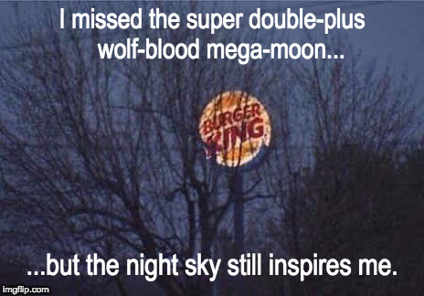 They have a new burger by the same name...  | I missed the super double-plus   wolf-blood mega-moon... ...but the night sky still inspires me. | image tagged in funny,sky,astronomy | made w/ Imgflip meme maker