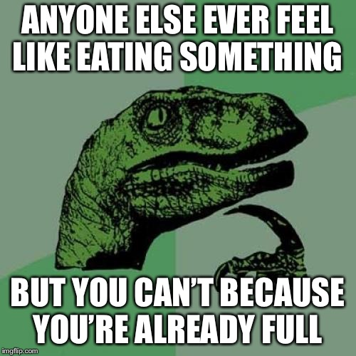 Food | ANYONE ELSE EVER FEEL LIKE EATING SOMETHING BUT YOU CAN'T BECAUSE YOU'RE ALREADY FULL | image tagged in memes,philosoraptor,food,hunger | made w/ Imgflip meme maker