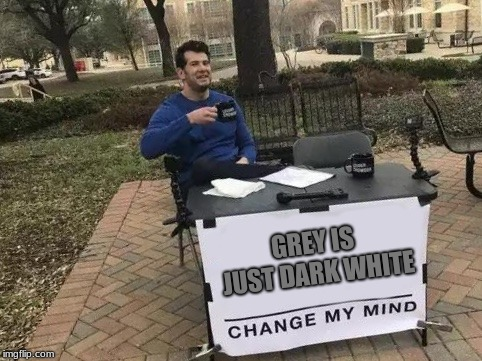 that or light black, can't decide :/ | GREY IS JUST DARK WHITE | image tagged in change my mind,memes,funny,colors,stupid | made w/ Imgflip meme maker