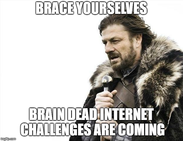 Brace Yourselves X is Coming | BRACE YOURSELVES BRAIN DEAD INTERNET CHALLENGES ARE COMING | image tagged in memes,brace yourselves x is coming,internet | made w/ Imgflip meme maker