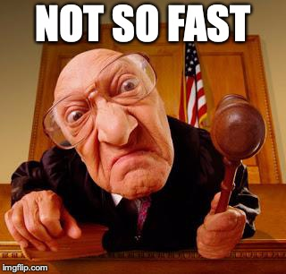 Mean Judge | NOT SO FAST | image tagged in mean judge | made w/ Imgflip meme maker