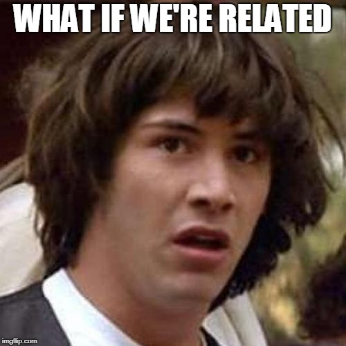 whoa | WHAT IF WE'RE RELATED | image tagged in whoa | made w/ Imgflip meme maker