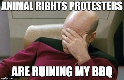 Captain Picard Facepalm | ANIMAL RIGHTS PROTESTERS ARE RUINING MY BBQ | image tagged in memes,captain picard facepalm | made w/ Imgflip meme maker