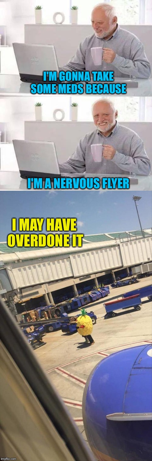 I'm flying Pineapple Express. | I'M GONNA TAKE SOME MEDS BECAUSE I'M A NERVOUS FLYER I MAY HAVE OVERDONE IT | image tagged in memes,hide the pain harold,pineapple,airlines,funny | made w/ Imgflip meme maker