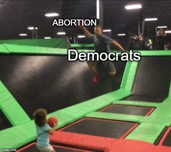 Democrats | Democrats ABORTION | image tagged in trampoline,democrats,abortion | made w/ Imgflip meme maker