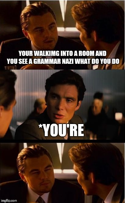 Lol I spelled walking wrong | YOUR WALKIMG INTO A ROOM AND YOU SEE A GRAMMAR NAZI WHAT DO YOU DO *YOU'RE | image tagged in memes,inception | made w/ Imgflip meme maker