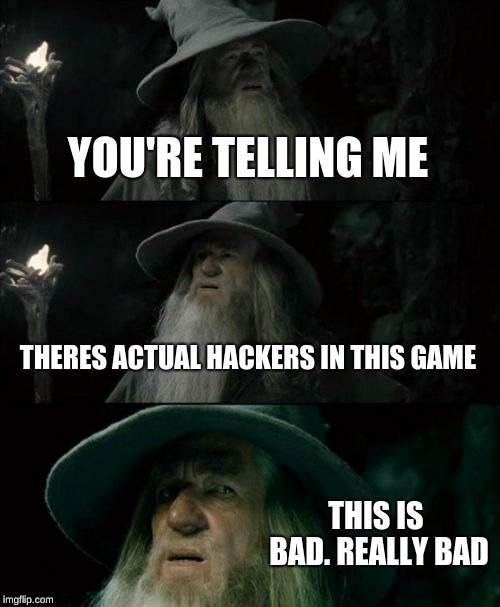 Confused Gandalf |  YOU'RE TELLING ME; THERES ACTUAL HACKERS IN THIS GAME; THIS IS BAD. REALLY BAD | image tagged in memes,confused gandalf | made w/ Imgflip meme maker