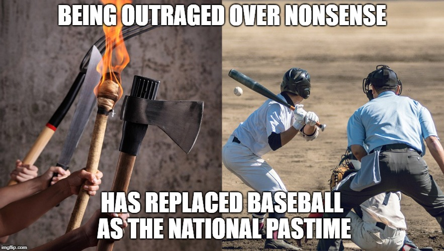 Baseball is racist, sexist, and discriminatory! | BEING OUTRAGED OVER NONSENSE HAS REPLACED BASEBALL AS THE NATIONAL PASTIME | image tagged in stupid people,riots,idiots | made w/ Imgflip meme maker