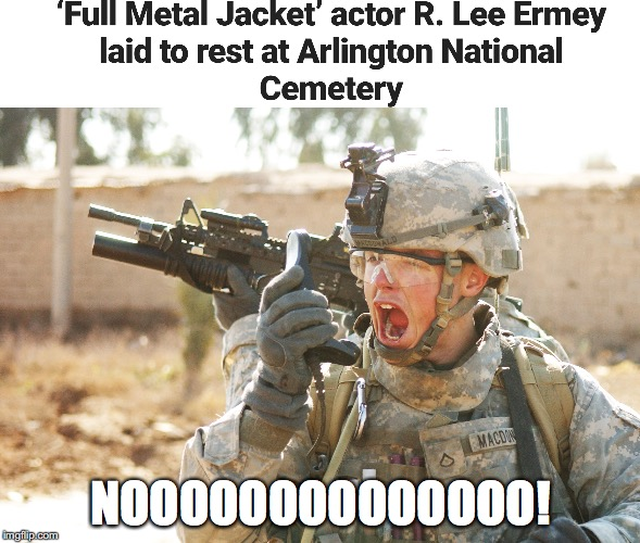 Rest in peace Sarge! | NOOOOOOOOOOOOOO! | image tagged in full metal jacket,rest in peace,punman21,r lee ermey | made w/ Imgflip meme maker