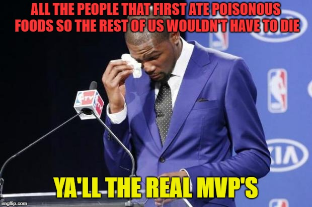 Think about it, somebody had to eat it to know it's poisonous amiright? |  ALL THE PEOPLE THAT FIRST ATE POISONOUS FOODS SO THE REST OF US WOULDN'T HAVE TO DIE; YA'LL THE REAL MVP'S | image tagged in memes,you the real mvp 2,poison,sacrifice | made w/ Imgflip meme maker
