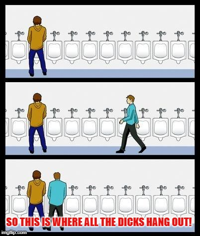 Urinal Guy | SO THIS IS WHERE ALL THE DICKS HANG OUT! | image tagged in urinal guy | made w/ Imgflip meme maker
