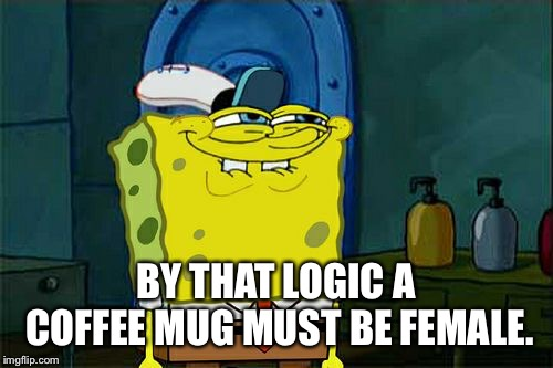 Dont You Squidward Meme | BY THAT LOGIC A COFFEE MUG MUST BE FEMALE. | image tagged in memes,dont you squidward | made w/ Imgflip meme maker