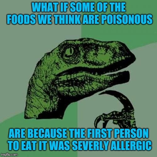 Philosoraptor Meme | WHAT IF SOME OF THE FOODS WE THINK ARE POISONOUS ARE BECAUSE THE FIRST PERSON TO EAT IT WAS SEVERLY ALLERGIC | image tagged in memes,philosoraptor | made w/ Imgflip meme maker