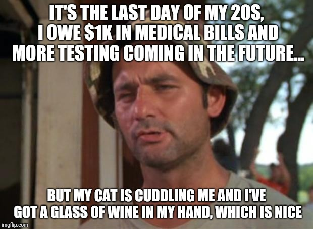 So I Got That Goin For Me Which Is Nice Meme | IT'S THE LAST DAY OF MY 20S, I OWE $1K IN MEDICAL BILLS AND MORE TESTING COMING IN THE FUTURE... BUT MY CAT IS CUDDLING ME AND I'VE GOT A GL | image tagged in memes,so i got that goin for me which is nice,AdviceAnimals | made w/ Imgflip meme maker