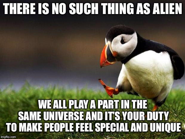 I could be wrong | THERE IS NO SUCH THING AS ALIEN WE ALL PLAY A PART IN THE SAME UNIVERSE AND IT'S YOUR DUTY TO MAKE PEOPLE FEEL SPECIAL AND UNIQUE | image tagged in memes,unpopular opinion puffin,universe,make a difference,respect | made w/ Imgflip meme maker