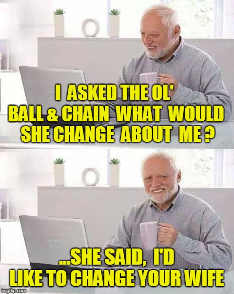 Hide the Pain Harold | I  ASKED THE OL' BALL & CHAIN  WHAT  WOULD  SHE CHANGE  ABOUT  ME ? ...SHE SAID,  I'D LIKE TO CHANGE YOUR WIFE | image tagged in memes,hide the pain harold | made w/ Imgflip meme maker
